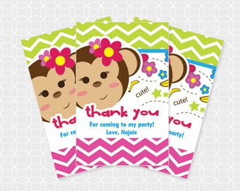Monkey Party Thank You Tags, Printable file, Personalized, for girls
