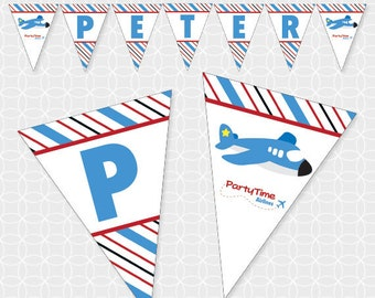 Airplane Party Banner, Printable file, Personalized