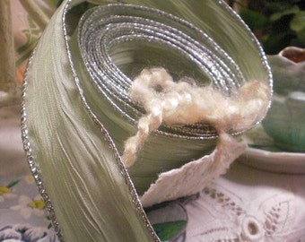 Green Wired Ribbon With Silver Edging