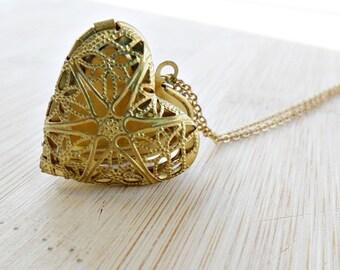 Heart Locket Pendant, Gold Heart Necklace Brass Filigree Heart Pendant Locket 14K Gold Fill Chain Love Valentine Jewelry