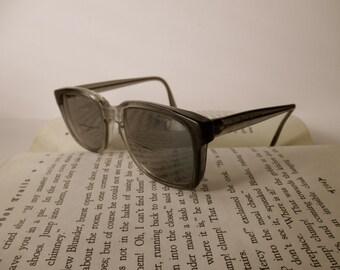 vintage dark grey eyeglass frames-  military, glasses, 1980s