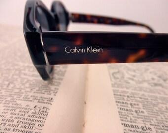 vintage Calvin Klein tortoise shell eyeglass frames- designer, glasses, 1980s, made in Italy