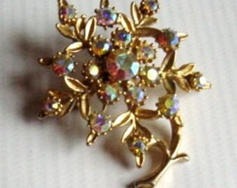 Vintage 1950s Flower Rhinestone Pin AB Mid Century Brooch