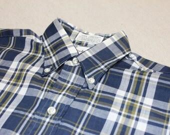 Kid stuff...vintage 1960's Boy's 3 button collar, long sleeve shirt w/ locker loop. Blue Plaid. Worn little. Boys 14