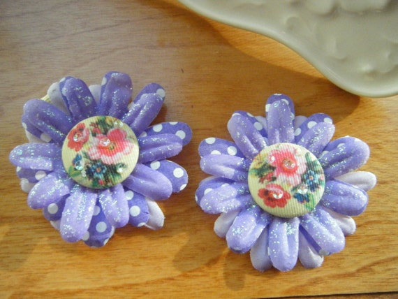 Pair of Girls Lavender Floral Hair Clips One of a Kind