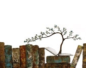 Tree growing from book, writers, students, teachers - Minimal thoughtful wall art, Laura Sue