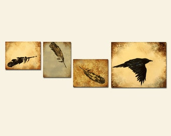 Crow Very Large Custom Painting, Abstract feathers and rustic distressed art