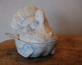 Turkey Blue and White Compote Covered Dish - Hand signed and made in Italy
