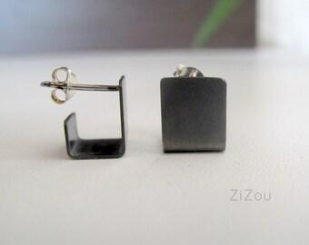 Silver stud  earrings, modern, black, minimal studs gift for her