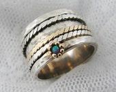 Sterling silver gold spinner ring. Opal spinner ring. Wide spinner ring. Braided spinner ring (gsr-7012). gift for her, silver spinner ring.