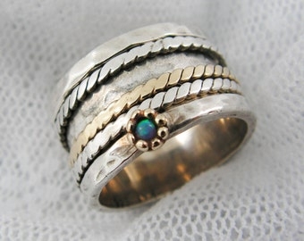 Sterling silver gold spinner ring. Opal spinner ring. Wide spinner ring. Braided spinner ring.  gift for her. (gsr-7012-515-516-291c-565).