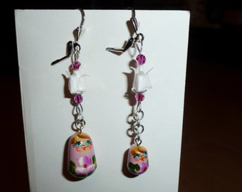 Matriochka Russian dolls and lotus flowers in origami earrings