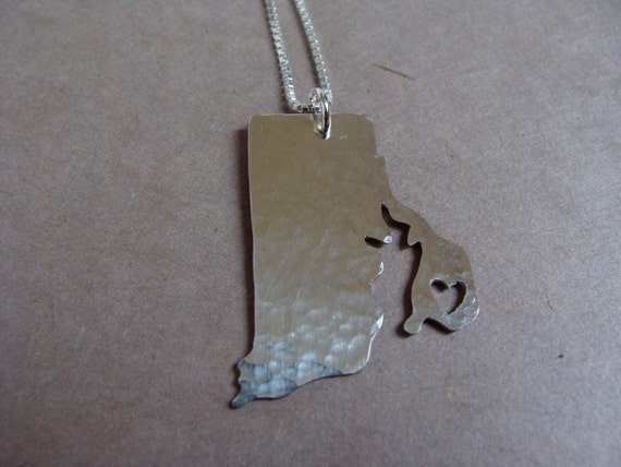 Rhode Island Necklace. Rhode Island State Art Map Shaped Charm. I Heart Custom Silver Outline Rhode Island Themed Jewelry For Moms.