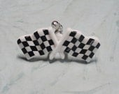Black and White Checkered Flag Croc / Clog Button - Charm for Boys or Girls