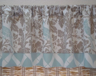 Blue Taupe Valance Powder Blue Lattice Curtain Kitchen Valance Kitchen Curtain 52x12 52x14 52X16  52X18