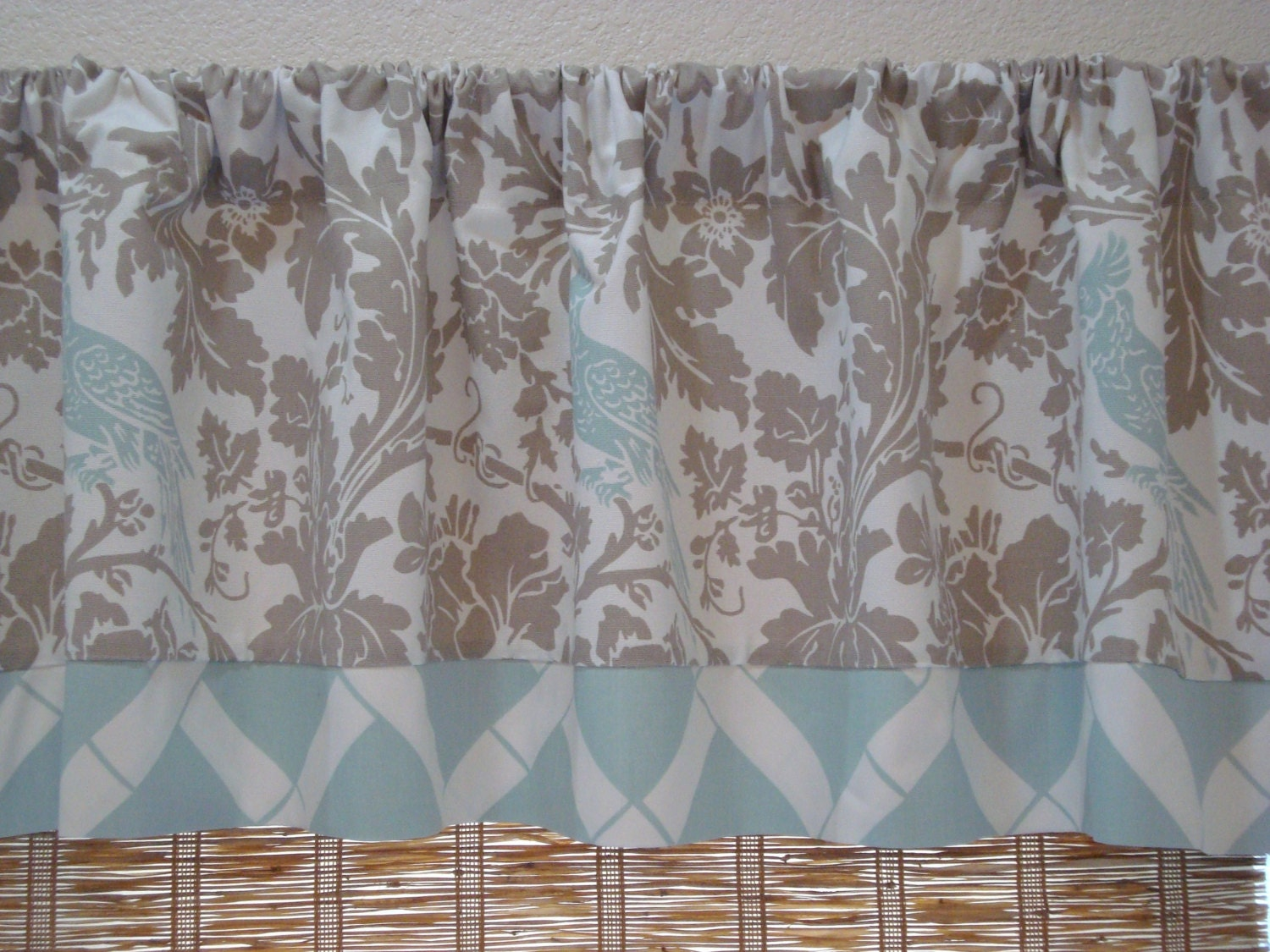 Blue Taupe Valance Powder Blue Lattice Curtain Kitchen Valance