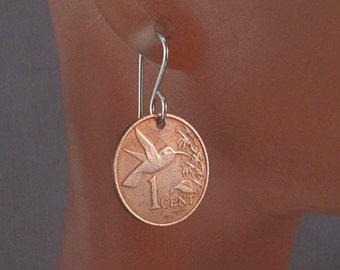 coin jewelry HUMMINGBIRD COIN EARRINGS, Trinidad Tobago, choose year No.001188