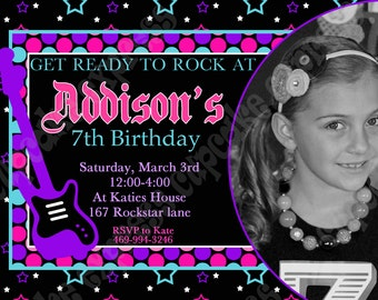 DIY Rockstar Girl Birthday party PRINTABLE  Photo Invitation 3 pink black purple teal guitar rock star
