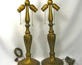 """Table Lamps Vintage Art Nouveau Deco """"Jefferson"""" Tall Cast Metal Antique Brass Finish Patina 1900s"""