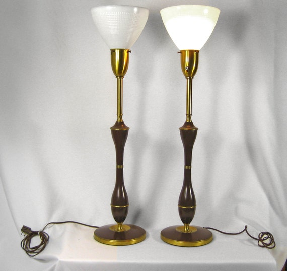 Table Lamps Tall Pair Vintage 1960s Signed Rembrandt By