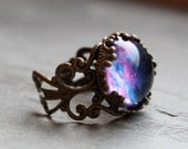 Violet Nebula Lacy Ring - Wanderlust Collection - Adjustable Ring, Galaxy, Universe, Outer Space, stars