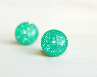 Bright Aqua Iridescent Glitter Stud Earrings - Hypoallergenic Surgical Stainless Steel Post Earrings - Neon