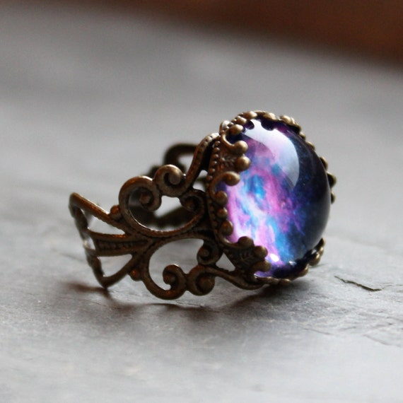 Violet Nebula Lacy Ring - Wanderlust Collection - Adjustable Ring,Valentines Day, Galaxy, Universe, Outer Space