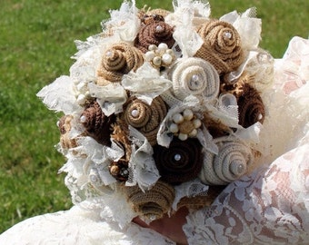 Burlap and Lace Wedding Bouquets for Rustic, Vintage, Farm Wedding