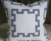 Greek Key Pillow - Decorative Pillow Cover - White/Navy - 20X20