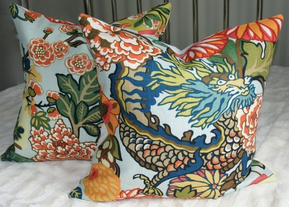 Pair of Chiang Mai Dragon DecorativePillows - Schumacher - 20X20 - Aquamarine - Designer Fabric