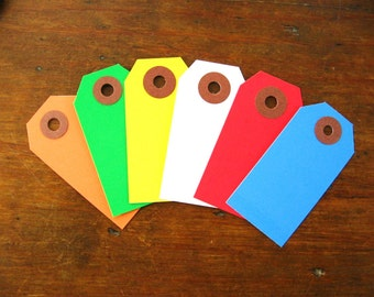 Bright Colored Gift Tags, Parcel Tags Assortment (Set of 30 Pick Your Own Colors)
