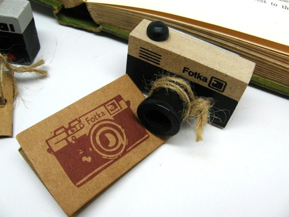 Vintage Style Camera Mini Wood Mounted Rubber Stamp