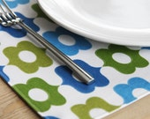 Fabric Placemats - Green and Blue Design - Set of 4 - FREE SHIPPING