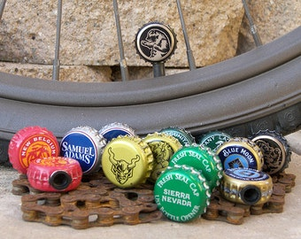Beer bottle cap bicycle tire valve caps