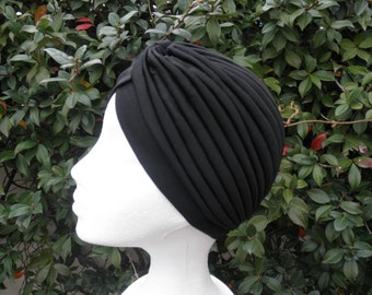 Black turban full headband, headpiece,black hair turban