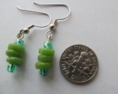 Green Glass Earrings (Small), Africa Ghana, Handmade Krobo Beads, Recycled Glass, for a Good Cause