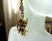 Golden Cupid with Love's Arrows and Cameo OOAK Light Dangling Earrings