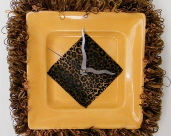 Wall Clock Gold Yellow Leopard Print Africa Ceramic Dinner Plate Upcycled Kid's Clock