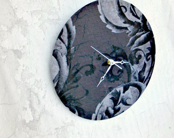 Shabby Chic Damask Clock Black Gray and White Upcycled Recycled French Floral Motif Bedroom Boudoir Home Decor Wall Clock