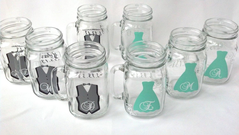 Mason jar groomsman glasses bridesmaids glasses wedding - Mason jar goblets ...