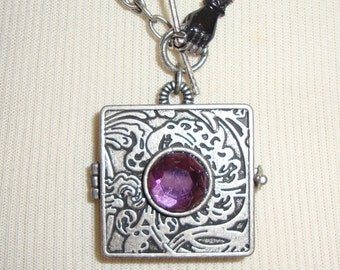 Nouveau Locket Necklace, OOAK, key, hand clasp, noir, gothic, chain maille neckchain, purple, amethyst