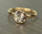 Morganite Gold Ring, 2ct round Engagement Ring, solid yellow rose white gold bezel - Blaze Solitaire