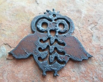 Rusted Iron Owl Pendant