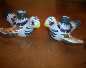 Mexican Folk Art Hand Painted Bird Candle Holders