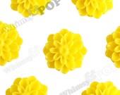 15mm - Lemon Yellow Chrysanthemum Flower Cabochons, Dahlia Flatbacks, Mum Shaped, (R3-109)
