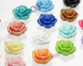 100 - Pointy Rose Mixed Colors Flower Cabochons, Flat Back Embellishment, Rose Shaped, 16mm (R3-123)