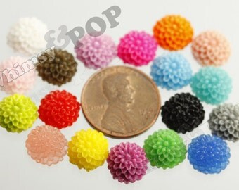 Mixed Colors Tiny Dahlia Flower Cabochons, Flower Cabs, mum cabochons, Dahlia Flatbacks, Flat Back Flowers, Flat Backs, 10mm x 5MM (R4-018)