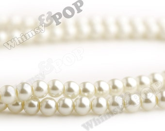 1 Strand of Ivory Glass Faux Pearls,  Pearl Beads, Glass Beads, 8mm Beads,  Approx 110 Beads / Strand, 8mm Round, 1mm Hole