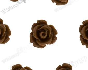 Chocolate Brown Rose Cabochons, Flower Cabochons, Flower Cabs, 10mm Rose Cabochons, Flat Back Roses, 10mm x 6mm (R1-061)
