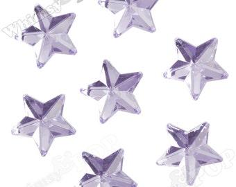 25 - Lavender Purple Star Acrylic Rhinestone Flatback Cabochons, Star Cabochons, Flatback Stars, Star Embellishments, 10mm (R8-145)